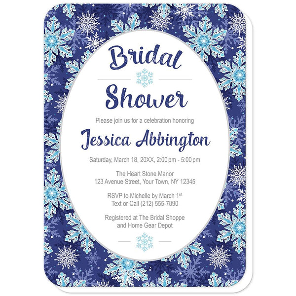 Navy Blue Snowflake Bridal Shower Invitations (rounded corners) at Artistically Invited