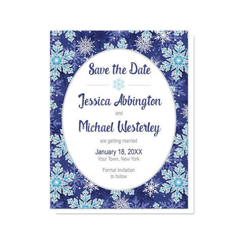Navy Blue Snowflake Save the Date Cards at Artistically Invited