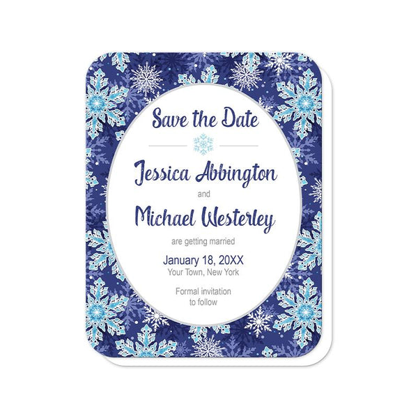 Navy Blue Snowflake Save the Date Cards (rounded corners) at Artistically Invited