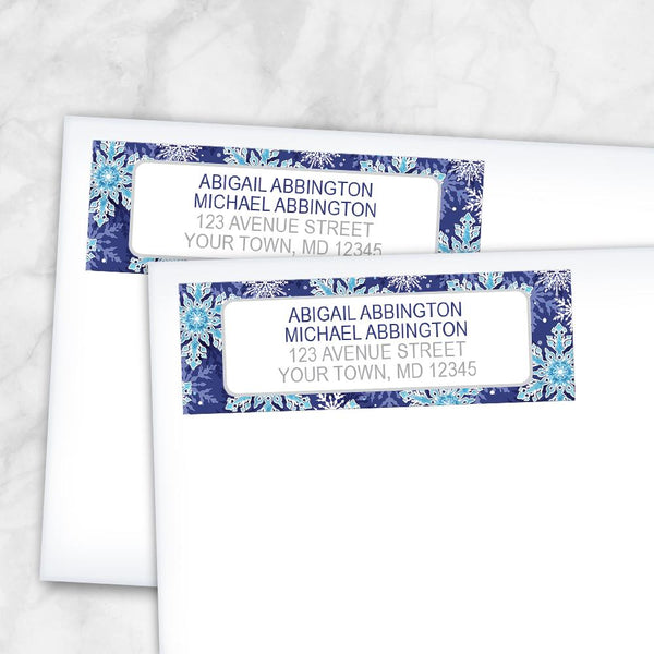 Navy Blue Snowflake Winter Return Address Labels at Artistically Invited