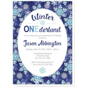 Navy Blue Snowflake 1st Birthday Winter Onederland Invitations at Artistically Invited