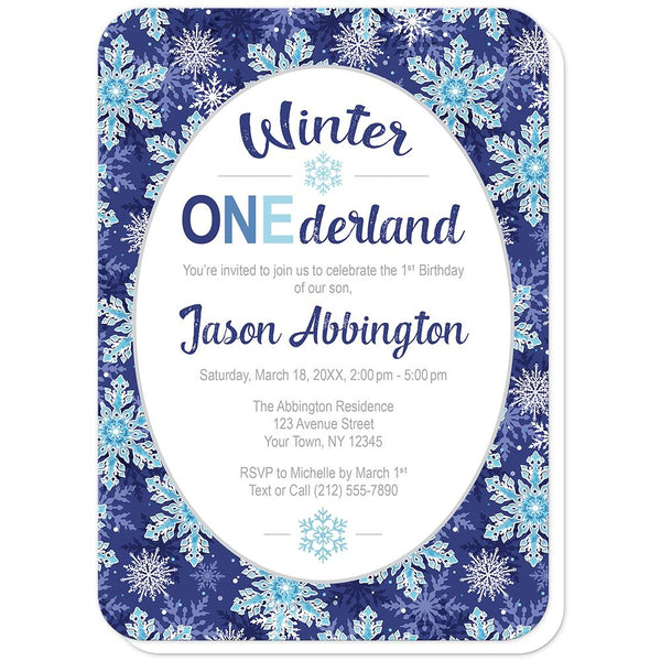 Navy Blue Snowflake 1st Birthday Winter Onederland Invitations (rounded corners) at Artistically Invited