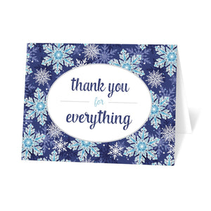 Navy Blue Snowflake Winter Thank You Cards at Artistically Invited
