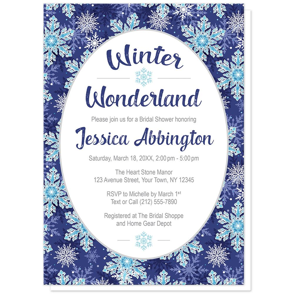 Navy Blue Snowflake Winter Wonderland Bridal Shower Invitations at Artistically Invited
