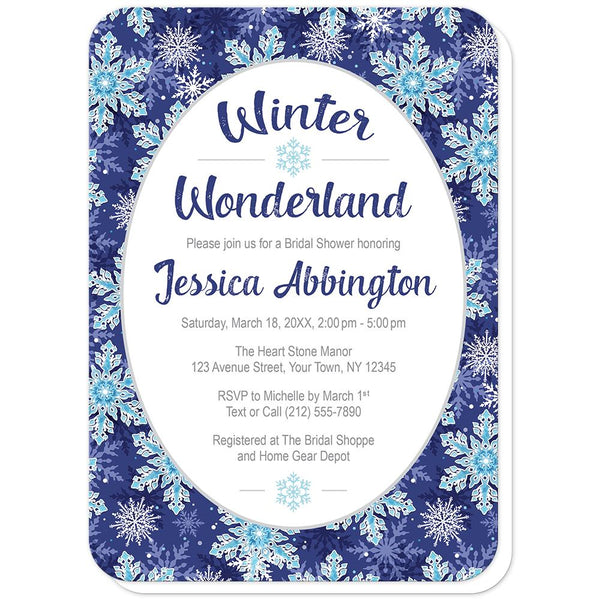 Navy Blue Snowflake Winter Wonderland Bridal Shower Invitations (rounded corners) at Artistically Invited
