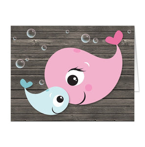 Mommy Baby Boy Whale Rustic Wood Note Cards
