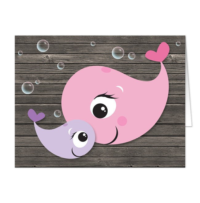 Mommy Baby Girl Whale Rustic Wood Note Cards