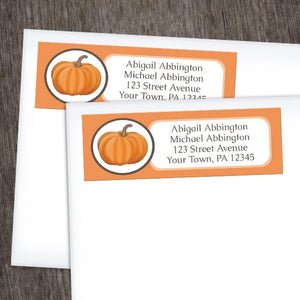 Orange Pumpkin Return Address Labels at Artistically Invited