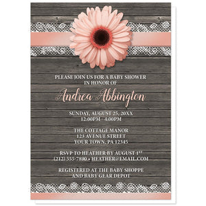 Peach Daisy Lace Rustic Wood - Daisy Baby Shower Invitations at Artistically Invited