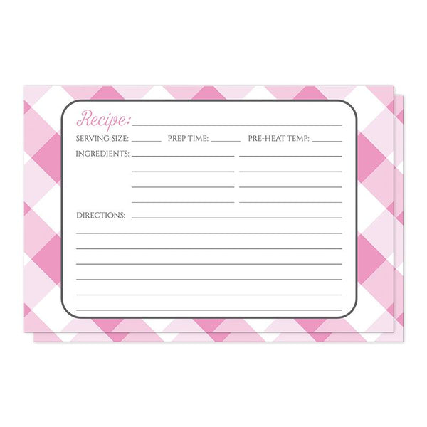 Pink Gingham Recipe Cards at Artistically Invited
