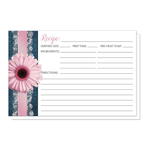 Pink Daisy Lace Rustic Denim Recipe Cards at Artistically Invited