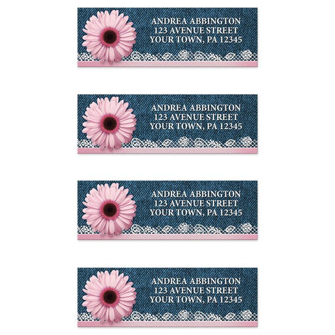 Pink Daisy Lace Rustic Denim Address Labels at Artistically Invited