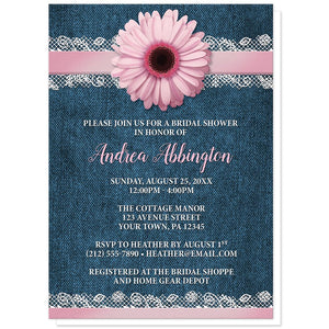 Pink Daisy Lace Rustic Denim Bridal Shower Invitations at Artistically Invited