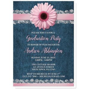 Pink Daisy Lace Rustic Denim - Pink Daisy Graduation Invitations at Artistically Invited