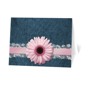 Pink Daisy Lace Rustic Denim Note Cards at Artistically Invited - denim and lace thank you cards