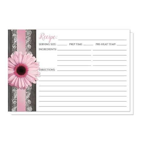 Pink Daisy Lace Rustic Wood Recipe Cards at Artistically Invited