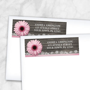 Pink Daisy Lace Rustic Wood Address Labels at Artistically Invited