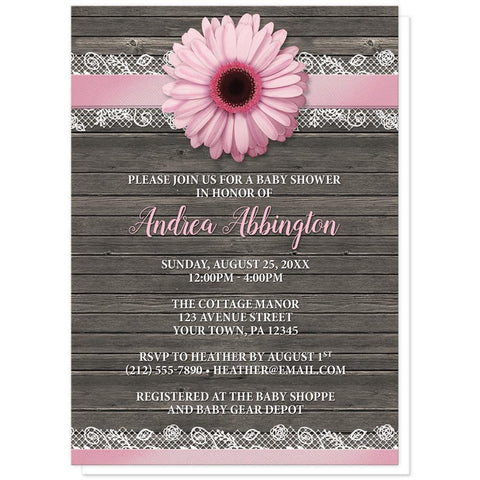 Daisy Baby Shower Invitations - Pink Daisy Lace Rustic Wood Baby Shower Invitations at Artistically Invited