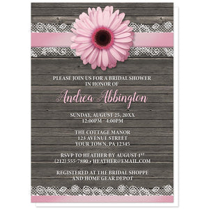 Pink Daisy Lace Rustic Wood Bridal Shower Invitations at Artistically Invited