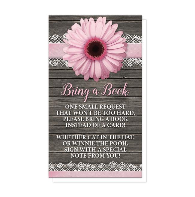 "Pink Daisy Lace Rustic Wood ""Bring a Book"" Cards at Artistically Invited"