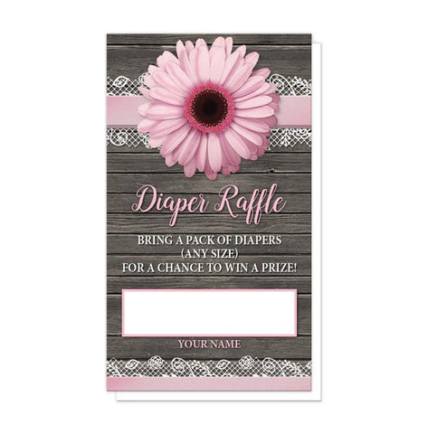 Pink Daisy Lace Rustic Wood Diaper Raffle Cards at Artistically Invited