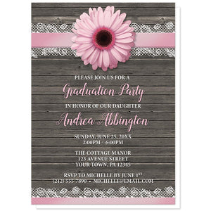 Pink Daisy Lace Rustic Wood - Pink Daisy Graduation Invitations at Artistically Invited