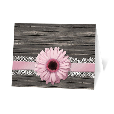 Pink Daisy Lace Rustic Wood Note Cards at Artistically Invited