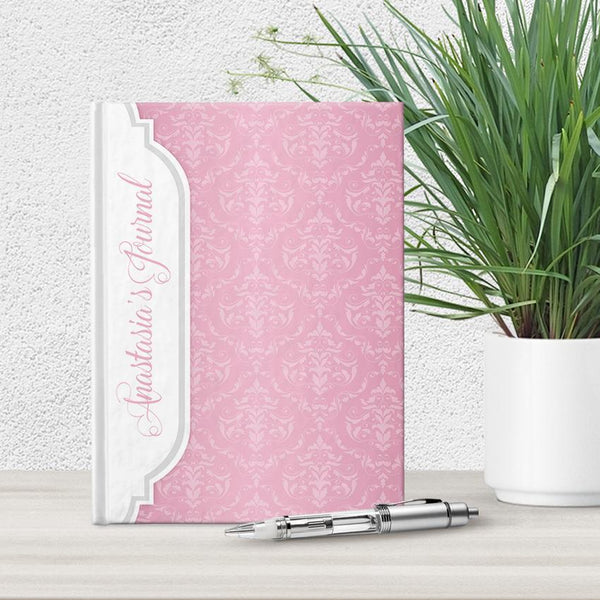 Personalized Pink Damask Journal at Artistically Invited