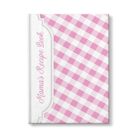 Personalized Pink Gingham Recipe Book at Artistically Invited