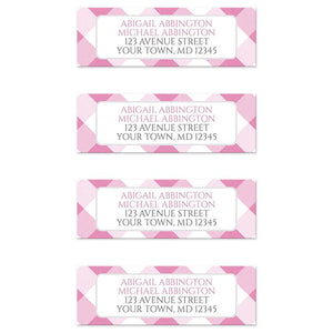 Pink Gingham Return Address Labels at Artistically Invited