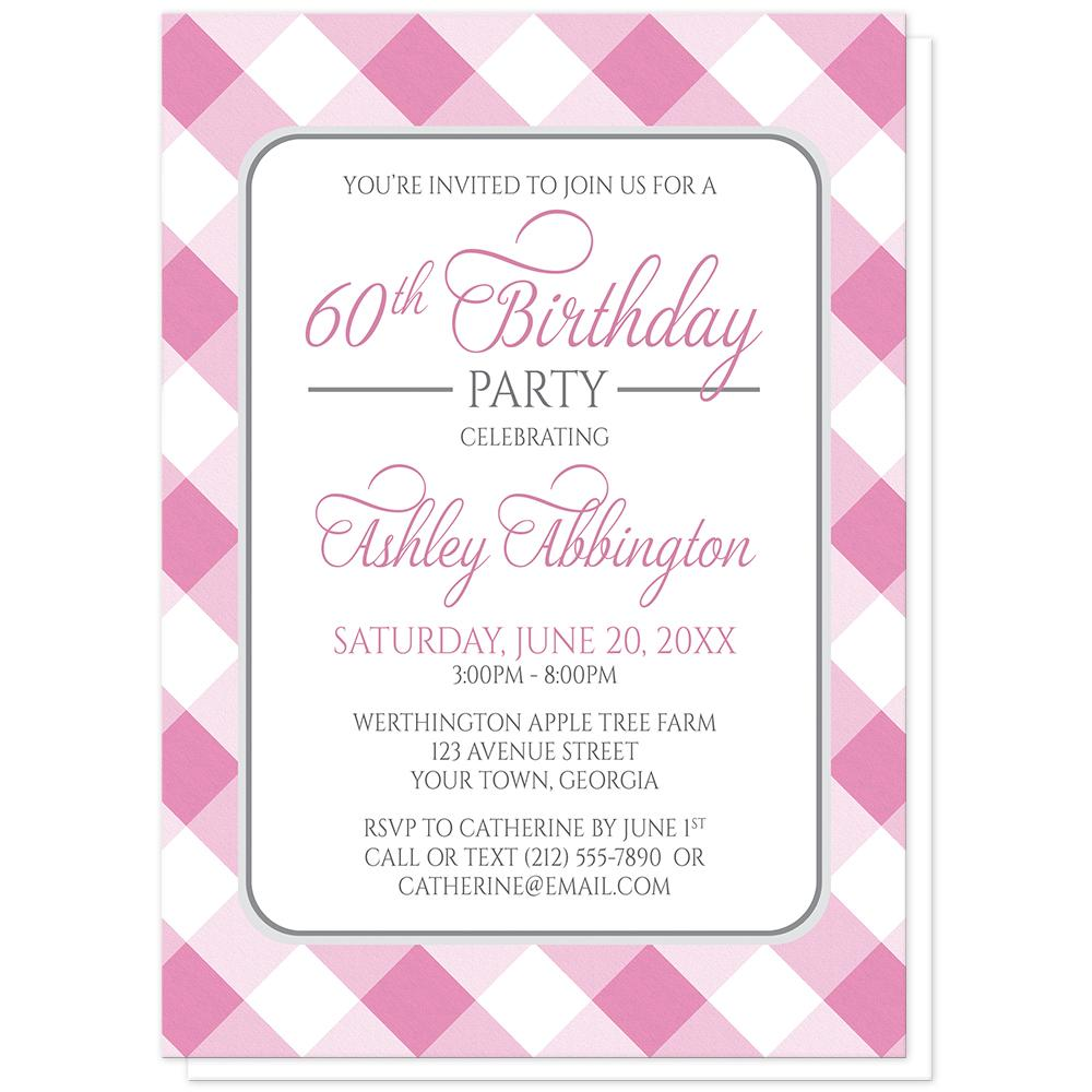 Pink Gingham Birthday Party Invitations at Artistically Invited