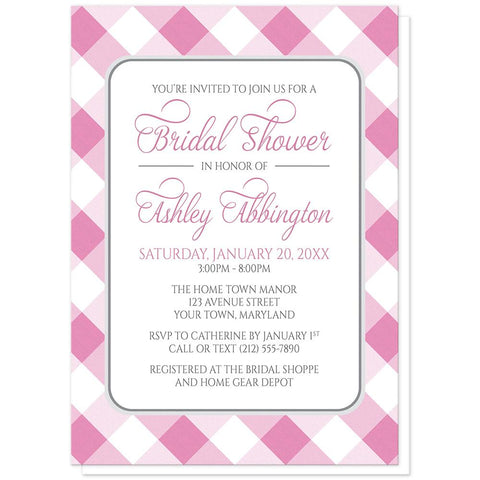 Pink Gingham Bridal Shower Invitations at Artistically Invited