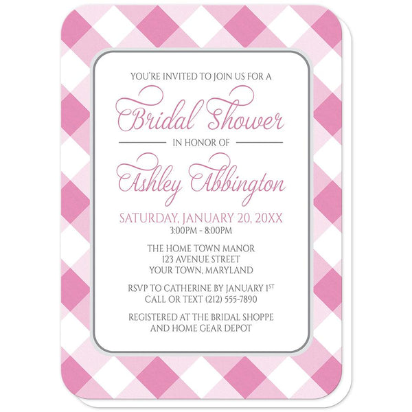 Pink Gingham Bridal Shower Invitations (rounded corners) at Artistically Invited