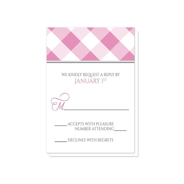 Pink Gingham Wedding RSVP Cards at Artistically Invited
