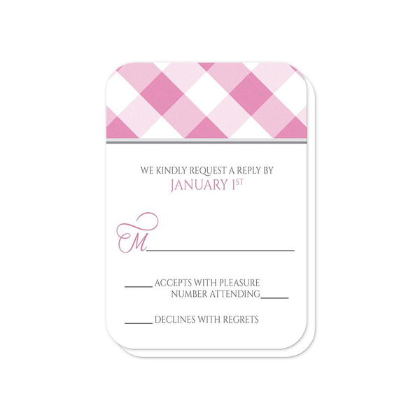 Pink Gingham Wedding RSVP Cards (rounded corners) at Artistically Invited