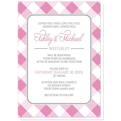 Pink Gingham Vow Renewal Invitations at Artistically Invited