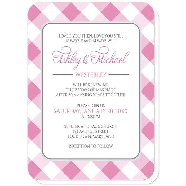 Pink Gingham Vow Renewal Invitations (rounded corners) at Artistically Invited