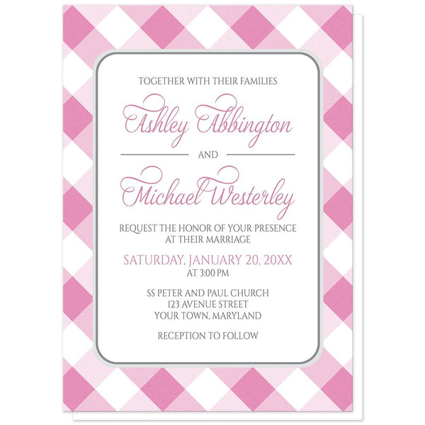 Pink Gingham Wedding Invitations at Artistically Invited