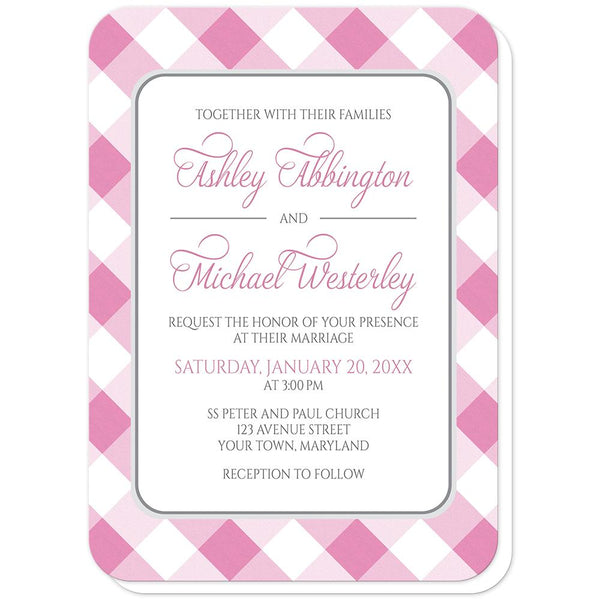 Pink Gingham Wedding Invitations (rounded corners) at Artistically Invited