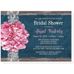 Pink Peony Denim and Lace Rustic - Peony Bridal Shower Invitations at Artistically Invited