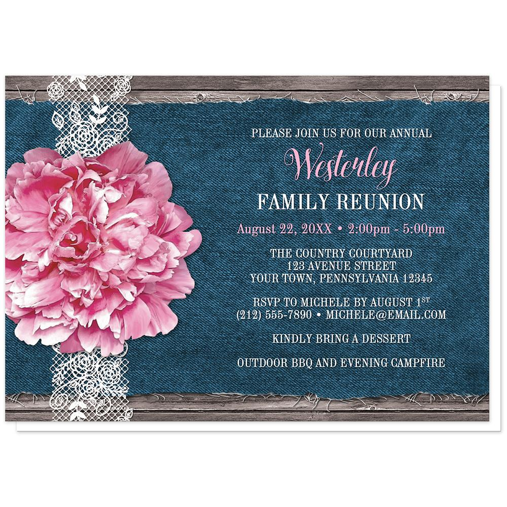 Pink Peony Denim and Lace Rustic - Peony Family Reunion Invitations at Artistically Invited