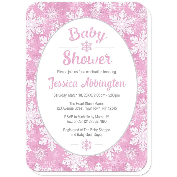 Pink Snowflake Baby Shower Invitations (rounded corners) at Artistically Invited
