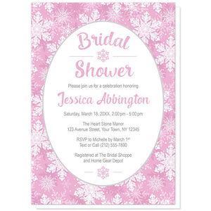 Pink Snowflake Bridal Shower Invitations at Artistically Invited