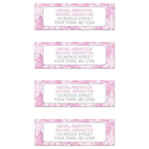 Pink Snowflake Winter Return Address Labels at Artistically Invited