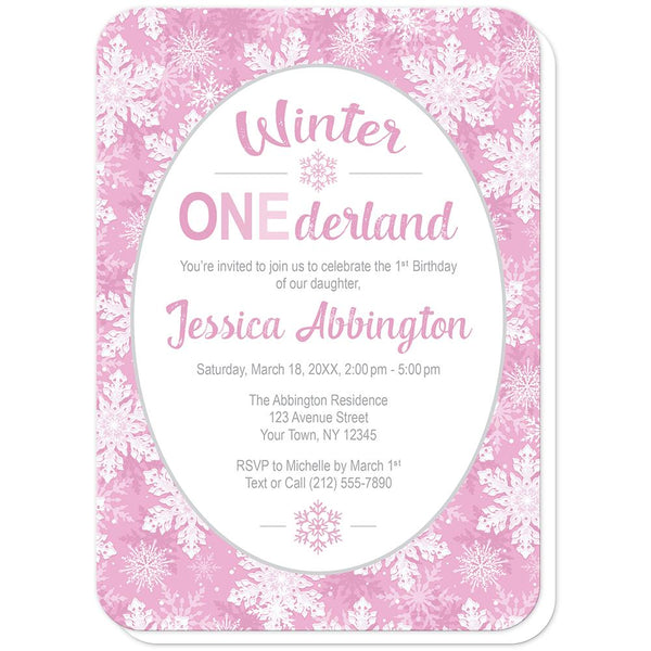 Pink Snowflake 1st Birthday Winter Onederland Invitations (rounded corners) at Artistically Invited