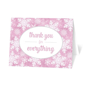 Pink Snowflake Winter Thank You Cards at Artistically Invited