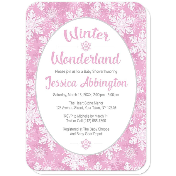 Pink Snowflake Winter Wonderland Baby Shower Invitations (rounded corners) at Artistically Invited