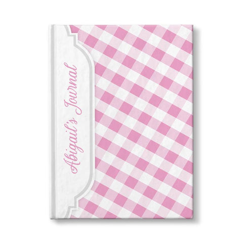 "Pink and White Gingham Pattern Personalized 5"" x 7"" Journal"