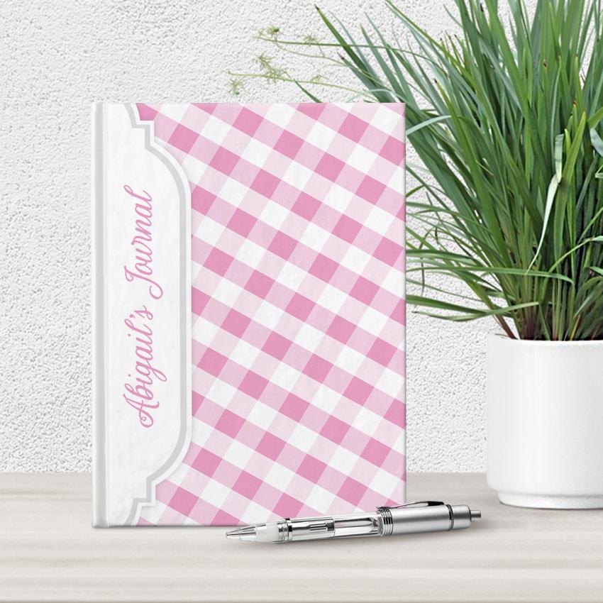 Personalized Pink Gingham Journal at Artistically Invited