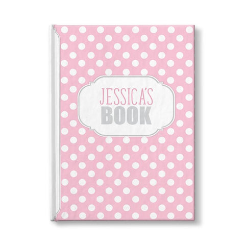 "Pink and White Polka Dot Personalized 5"" x 7"" Journal"